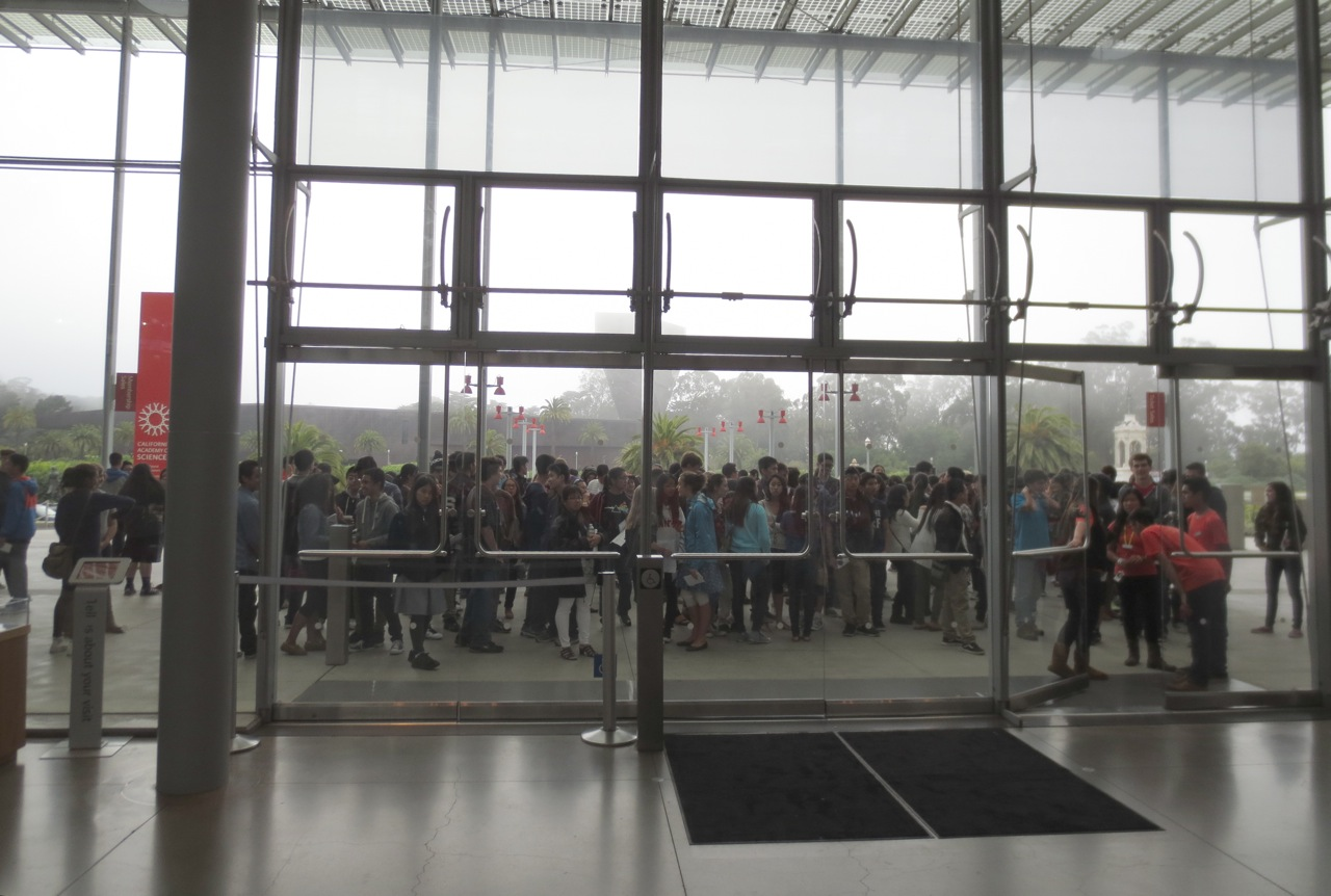 Teens waiting to enter the Academy