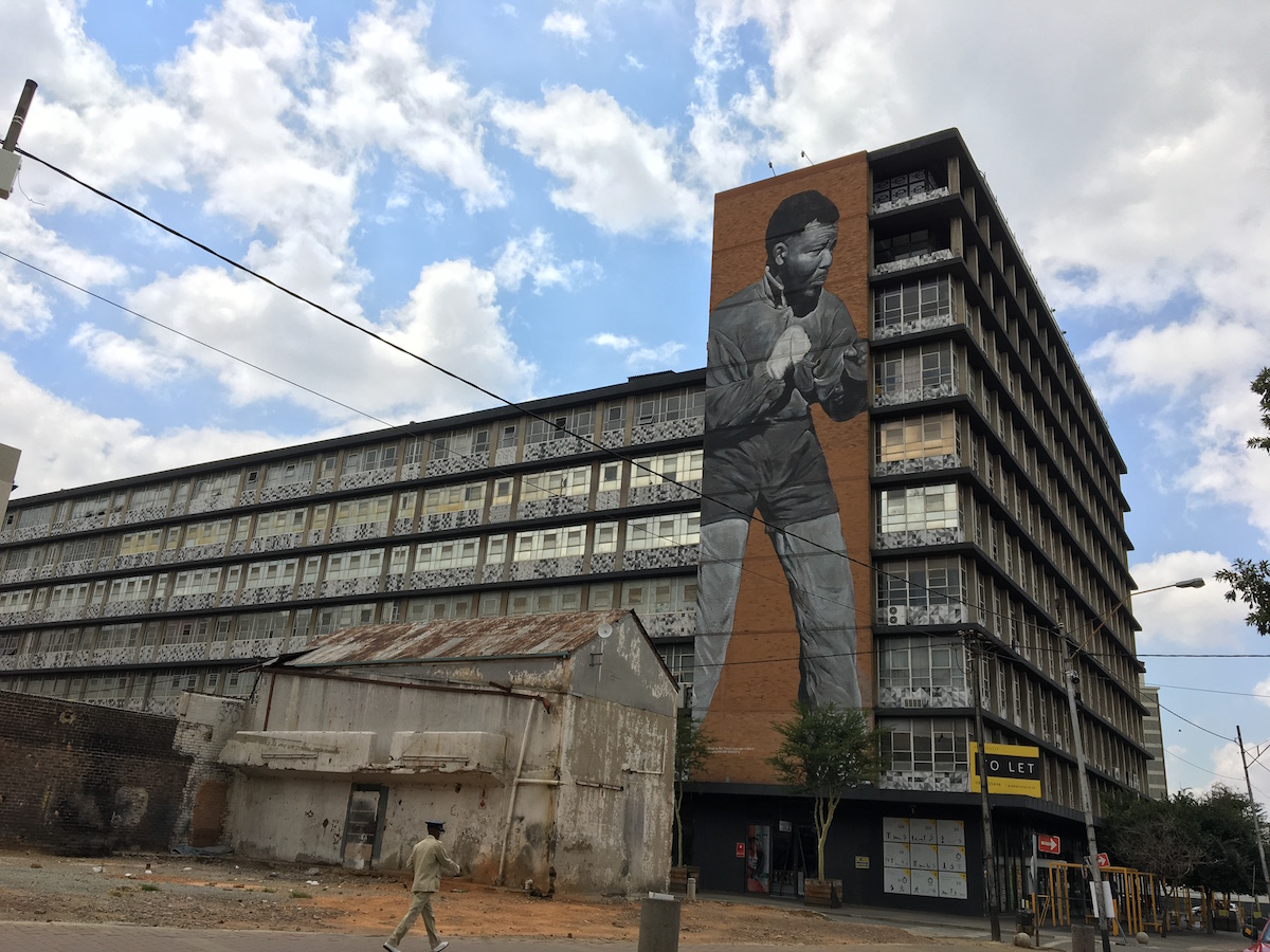 Mandela art on building 1200