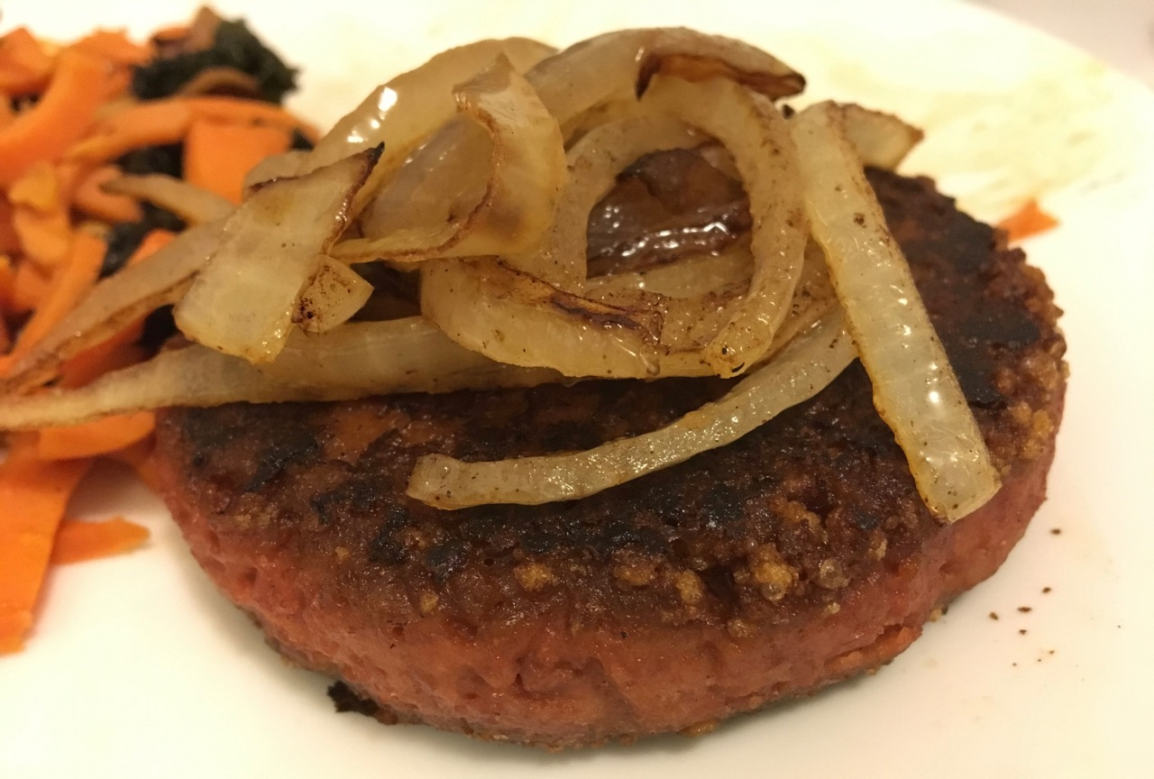 Beyond burger with onions