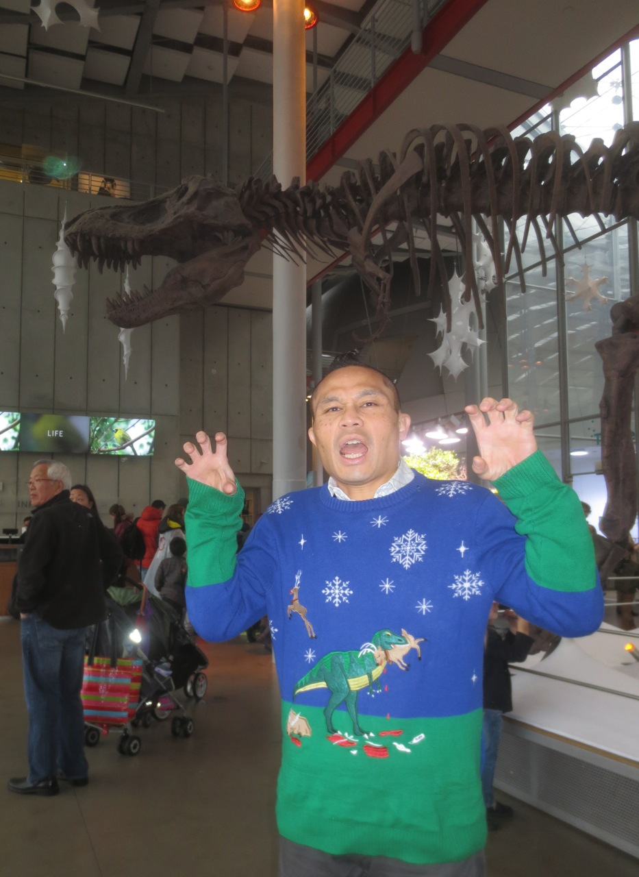 T-rex christmas sweater at cal academy