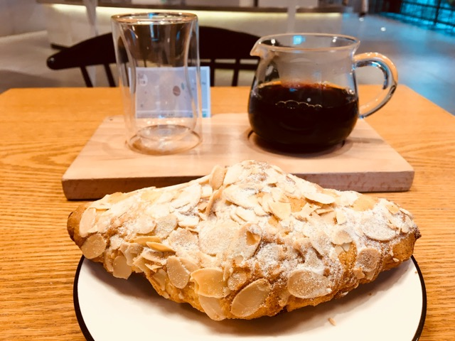 Croissant and coffee at Engine Cafe   Xiantiandi